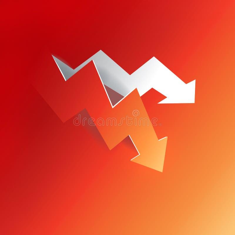 Gráfico de la flecha que pela abajo de fondo de papel rojo stock de ilustración