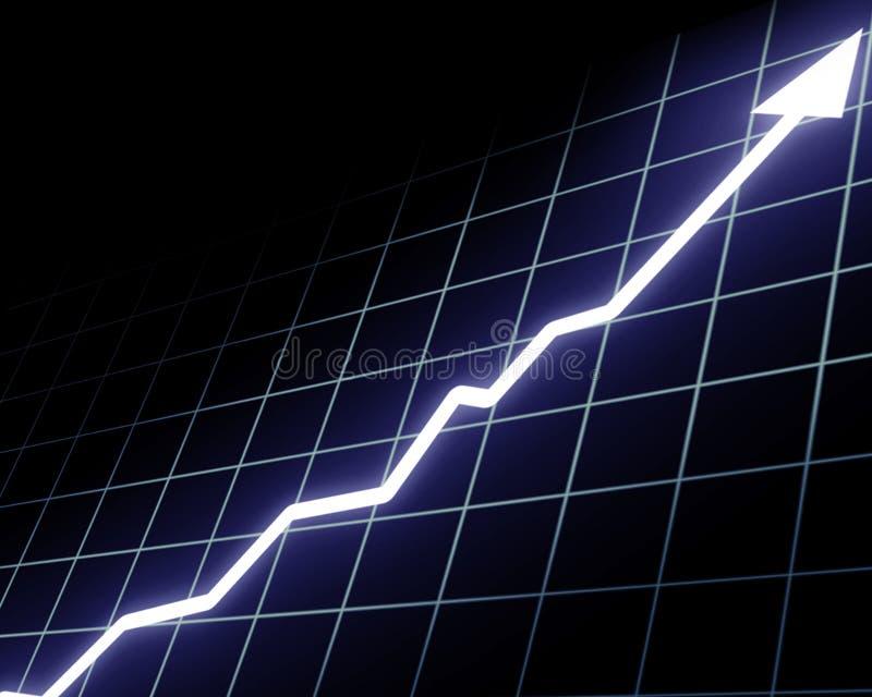Gráfico de la flecha que sube stock de ilustración