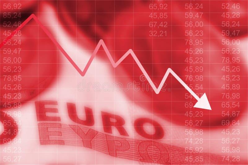 Gráfico de la flecha que va abajo y dinero en circulación euro