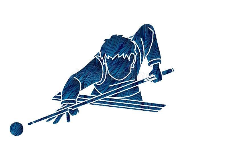 Gráfico de la historieta de la acción del deporte del billar ilustración del vector