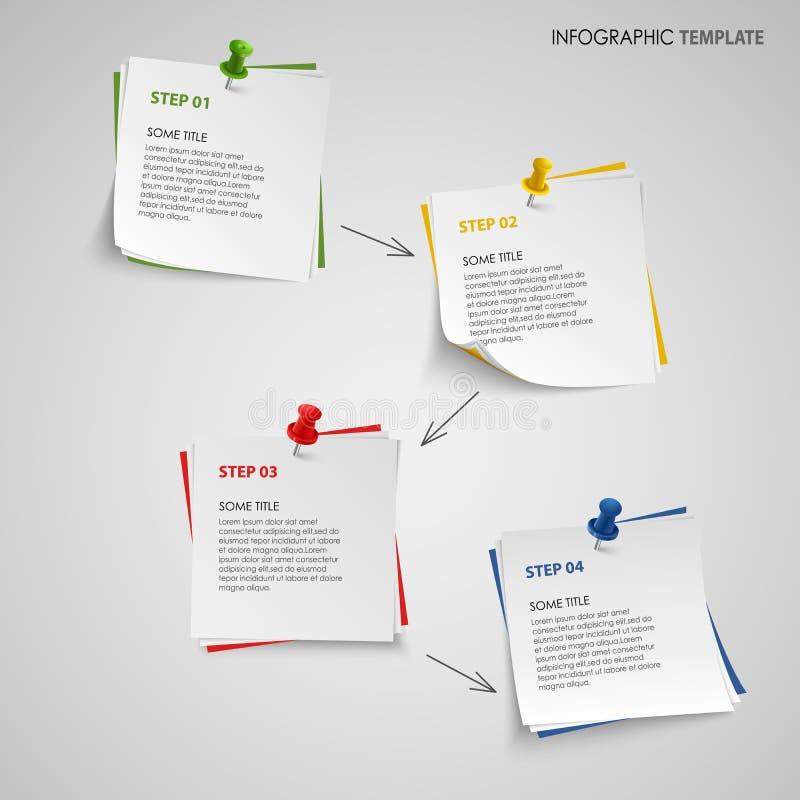 Gráfico de la información con la plantilla del papel de nota stock de ilustración