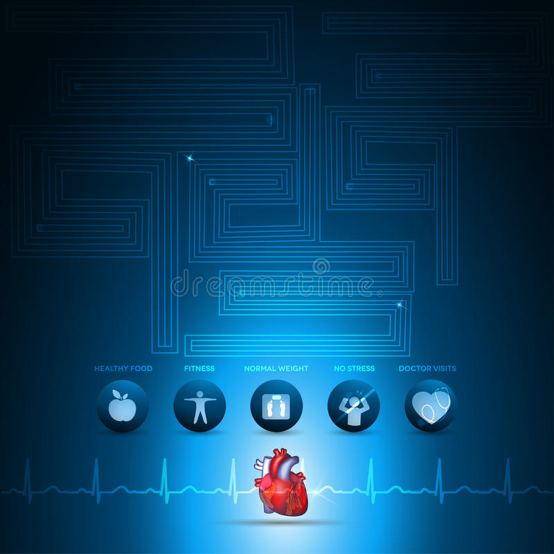 Gráfico de la información de la atención sanitaria del corazón libre illustration