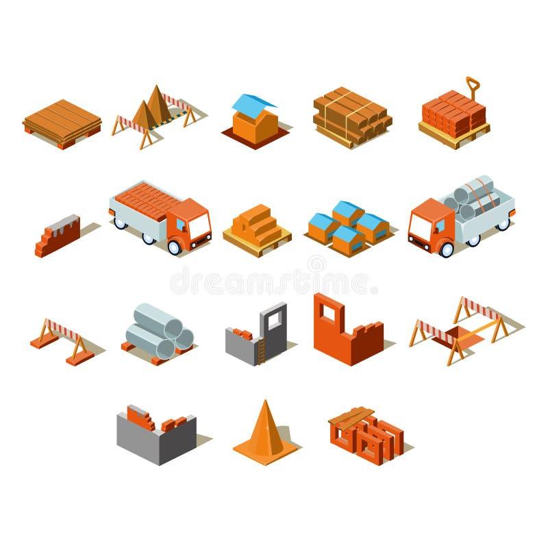 Gráfico de la información del proyecto de construcción, ejemplo isométrico detallado del vector libre illustration