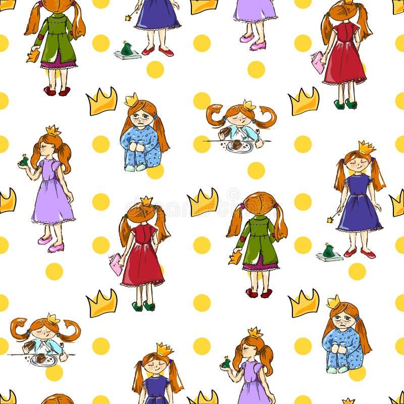 Gráfico de la mano Ejemplo de una pequeña princesa linda Modelo inconsútil stock de ilustración
