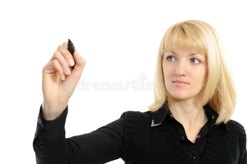 Gráfico de la mujer de negocios algo en la pantalla   imagenes de archivo