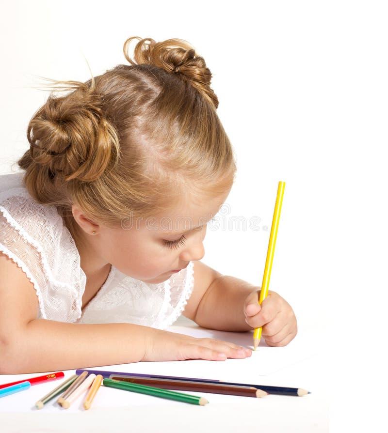 Gráfico de la niña con los lápices coloreados fotos de archivo