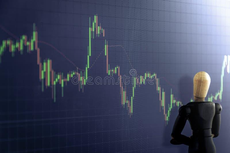 Gráfico de la palmatoria con la marioneta de madera, el negocio y la estafa financiera libre illustration