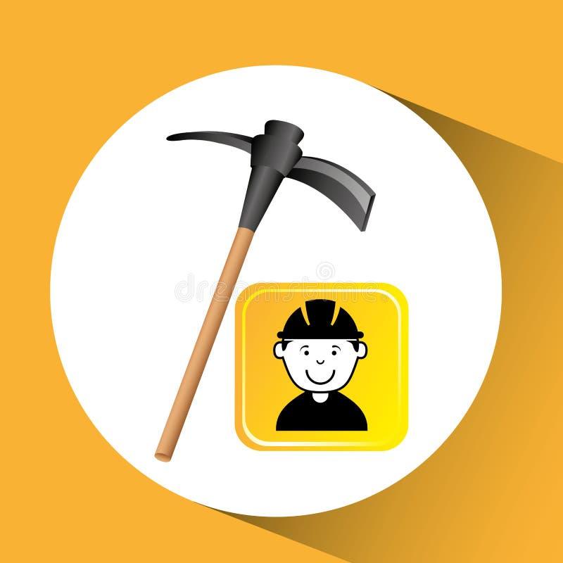 Gráfico de la piqueta del trabajador de construcción libre illustration