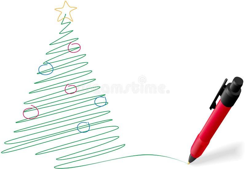 Gráfico de la pluma de la tinta que escribe el feliz árbol de navidad libre illustration