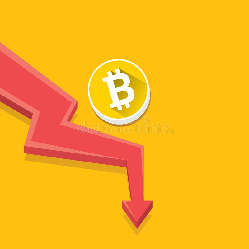 Gráfico de la quiebra del mercado del bitcoin del vector en fondo del orabge Illusrtation del vector del concepto del bombo de Bi libre illustration