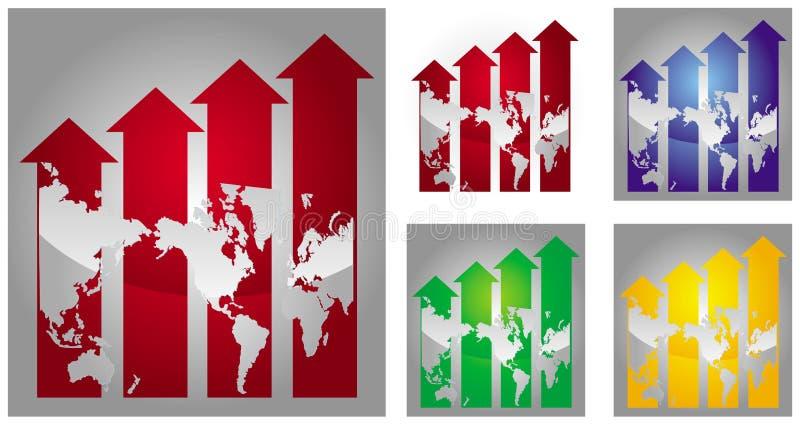 Gráfico de la recesión económica ilustración del vector