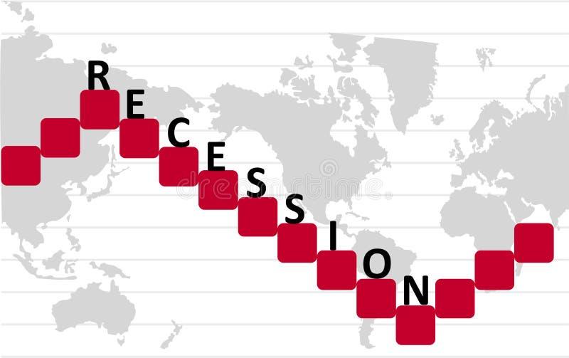 Gráfico de la recesión económica stock de ilustración