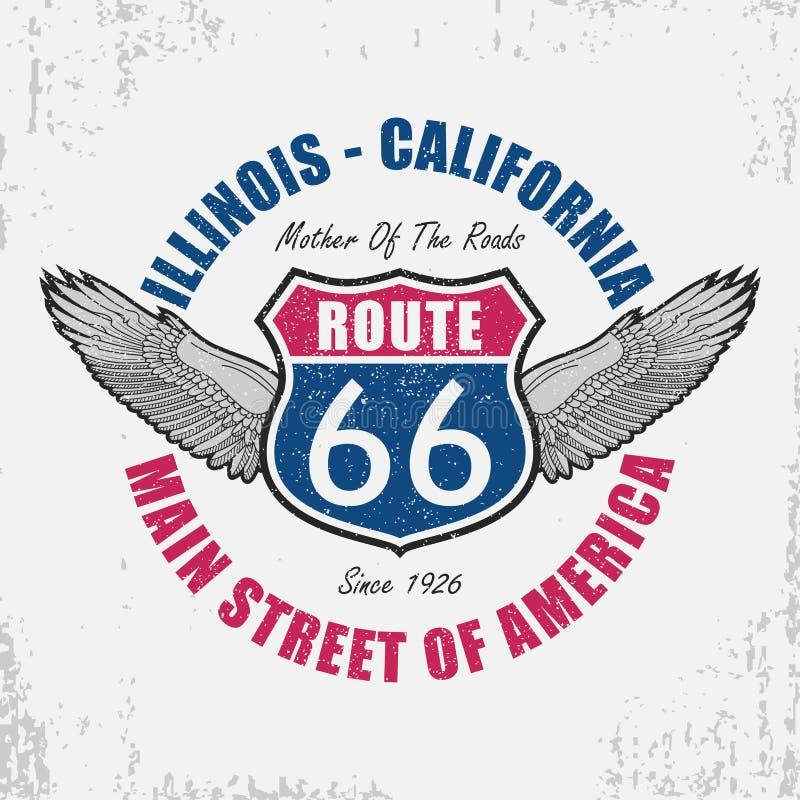 Gráfico de la tipografía de Route 66 para la camiseta Diseño original de la ropa con las alas y lema Señal de tráfico de Illinois stock de ilustración