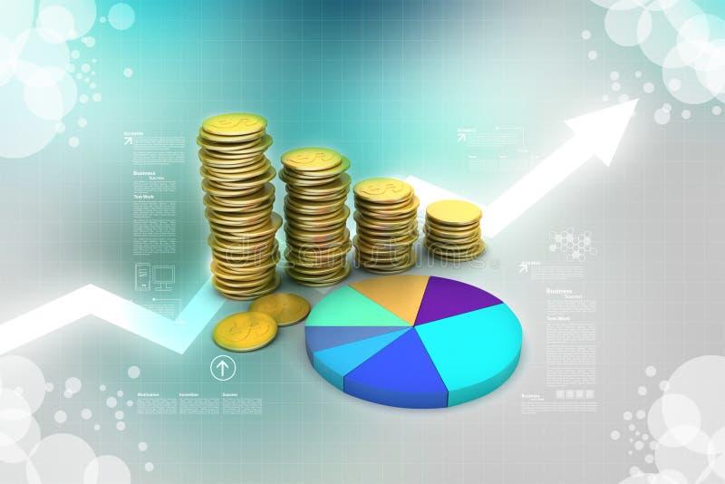 Gráfico de las monedas de oro con el gráfico de sectores ilustración del vector