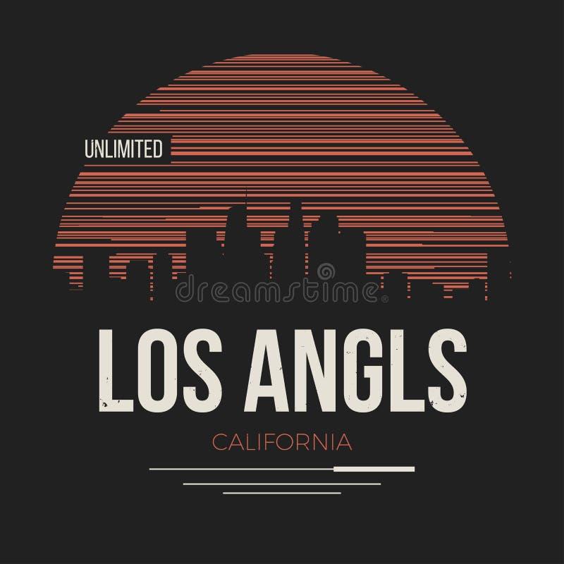 Gráfico de Los Angeles, projeto do t-shirt, cópia do T, tipografia, embl ilustração stock