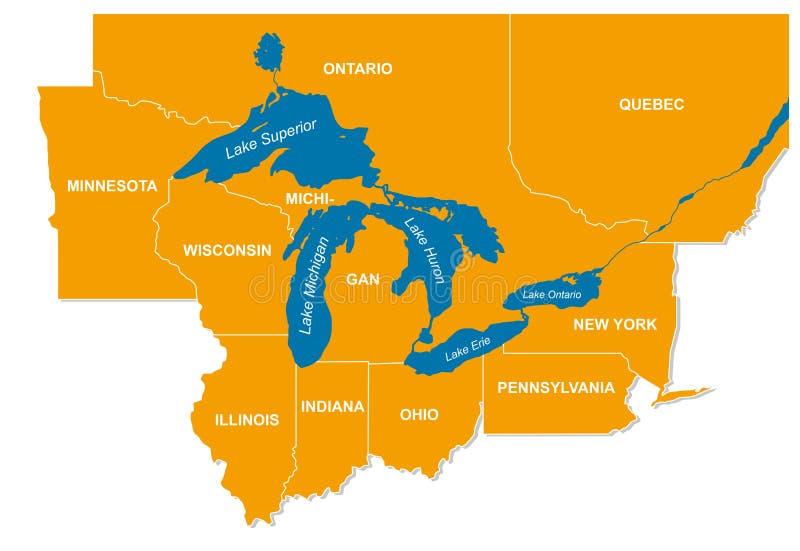 Gráfico de los Great Lakes norteamericanos y de sus estados colindantes ilustración del vector