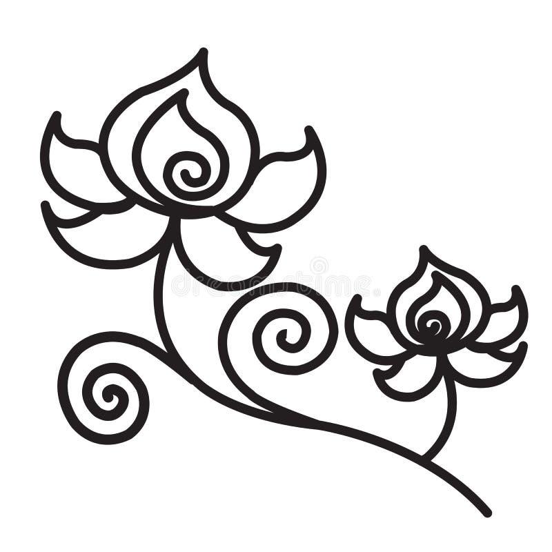 Gráfico de Lotus para moldes cortados para o corte do laser ilustração stock