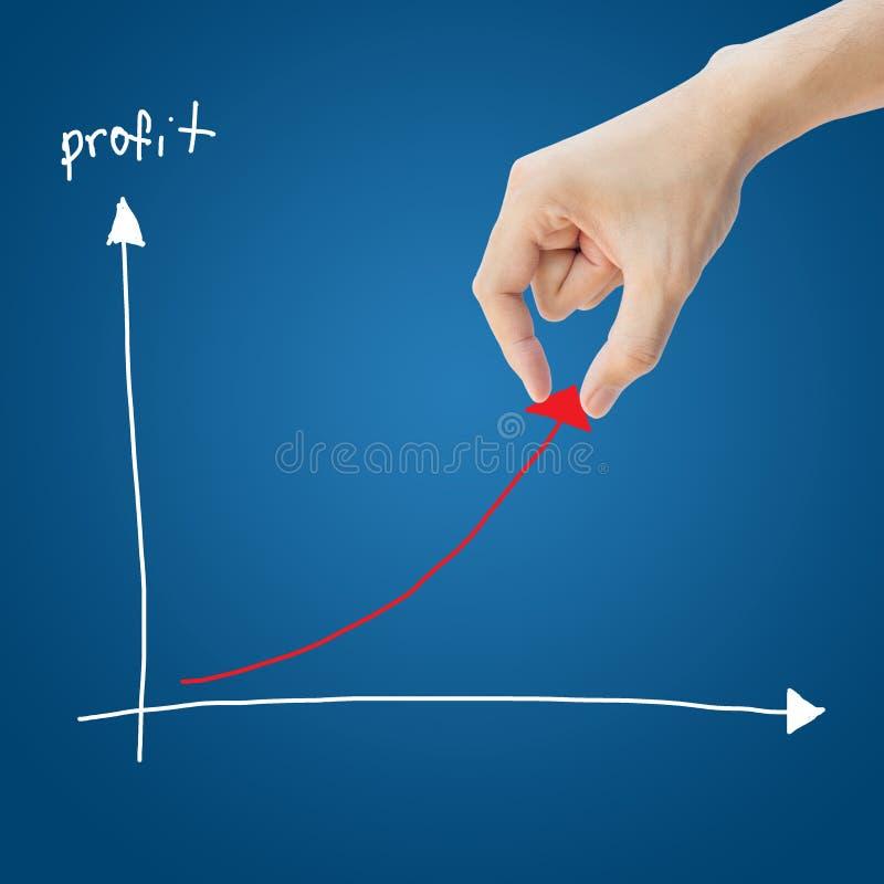Gráfico de lucro da ajuda da mão do negócio fotos de stock