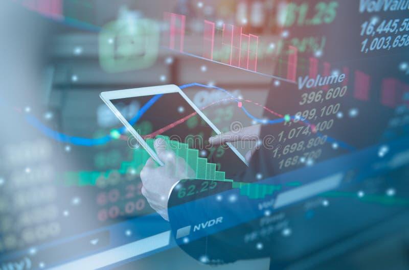 Gráfico de lucro do indicador do mercado de valores de ação fotos de stock