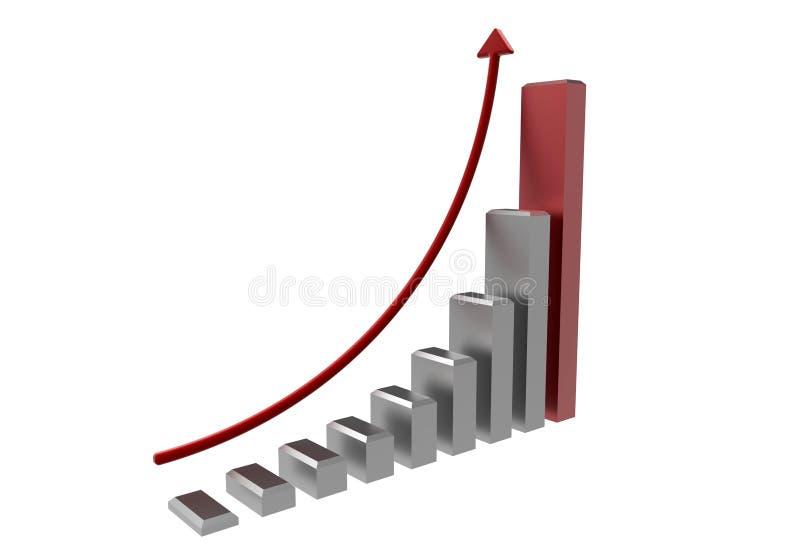 Gráfico de negócio cinzento e vermelho ilustração royalty free