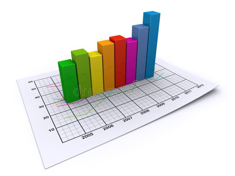 Gráfico de negócio colorido ilustração stock