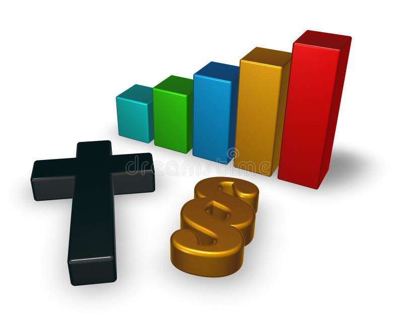 Gráfico de negócio com símbolo cristão da cruz e do parágrafo ilustração do vetor