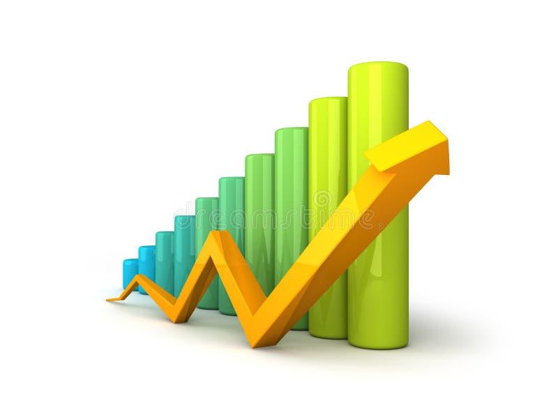Gráfico de negócio com seta ilustração stock