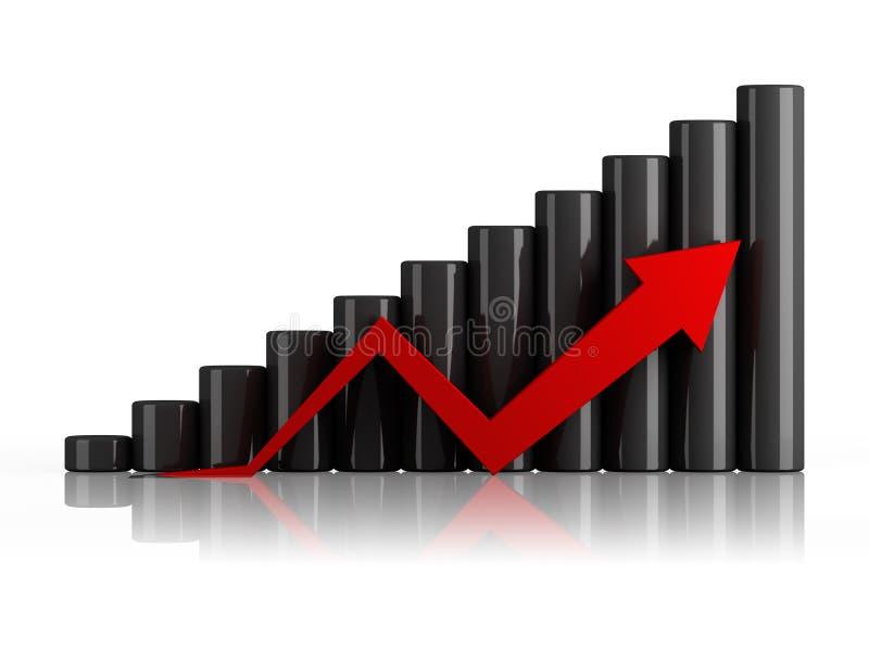 Gráfico de negócio com seta ilustração royalty free