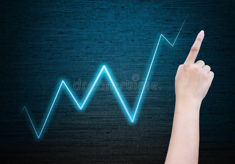 Gráfico de negócio da mão foto de stock royalty free
