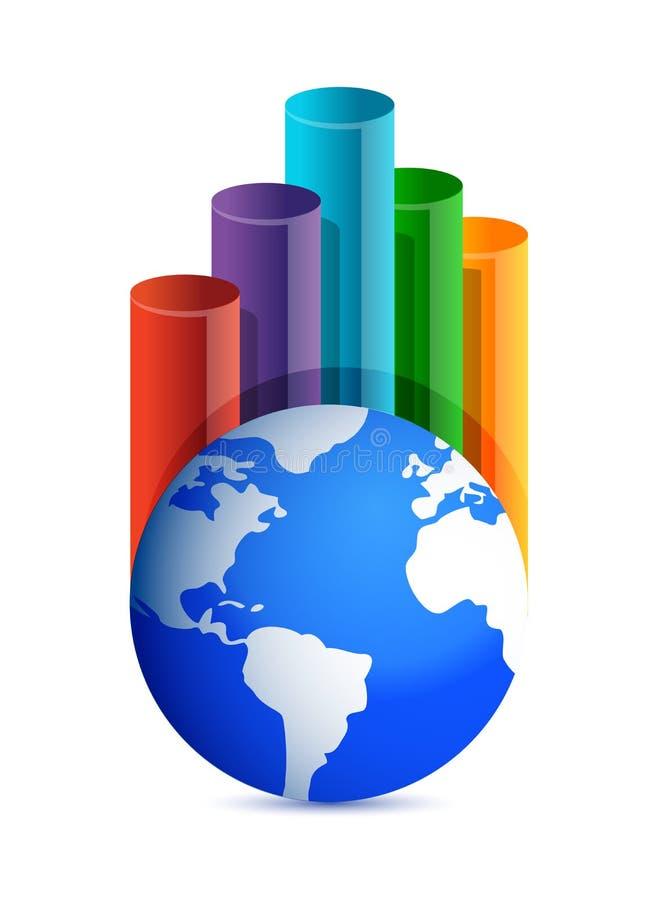 Gráfico De Negócio Do Globo Imagens de Stock