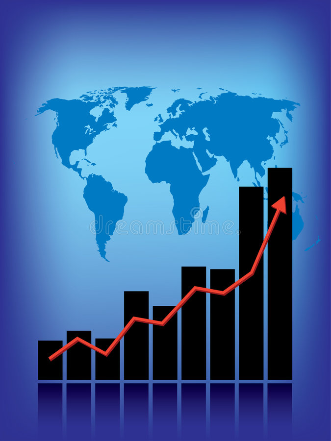 Gráfico de negócio do mundo ilustração royalty free