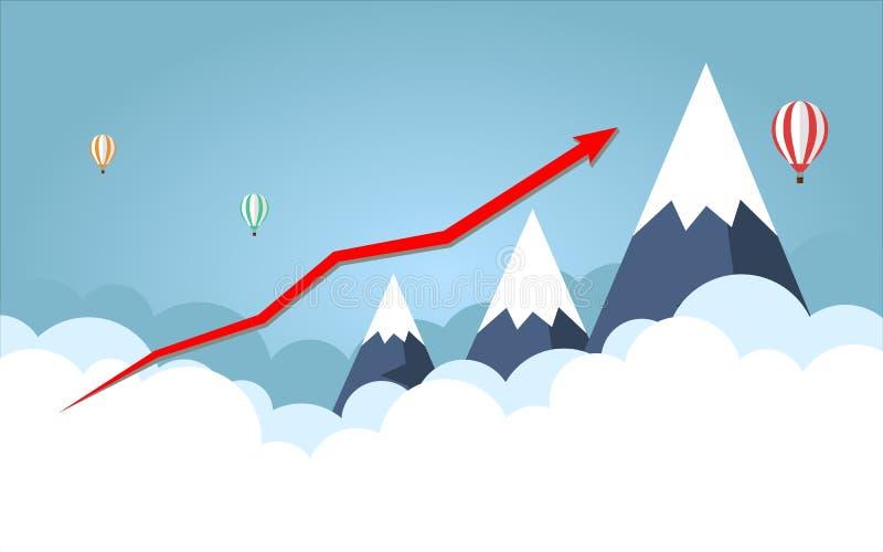 Gráfico de negócio Seta vermelha Na montanha alta do fundo com céu ilustração stock