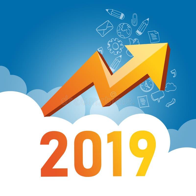 Gráfico de negocio con la flecha ascendente y el símbolo 2019, el concepto del éxito y el ejemplo de la idea del crecimiento ilustración del vector