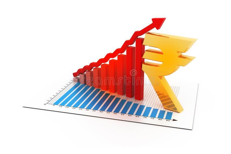 Gráfico de negocio con la muestra de la rupia india ilustración del vector