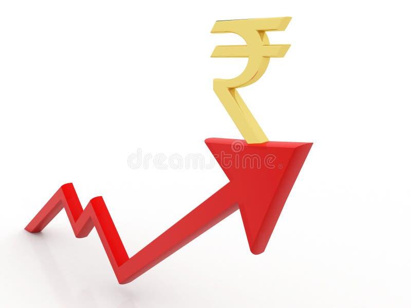 Gráfico de negocio con la muestra de la rupia Concepto del crecimiento de la rupia india representación 3d libre illustration