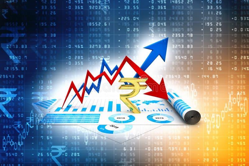 Gráfico de negocio con la muestra de la rupia Crecimiento de la rupia india y concepto de la pérdida 3d rinden libre illustration