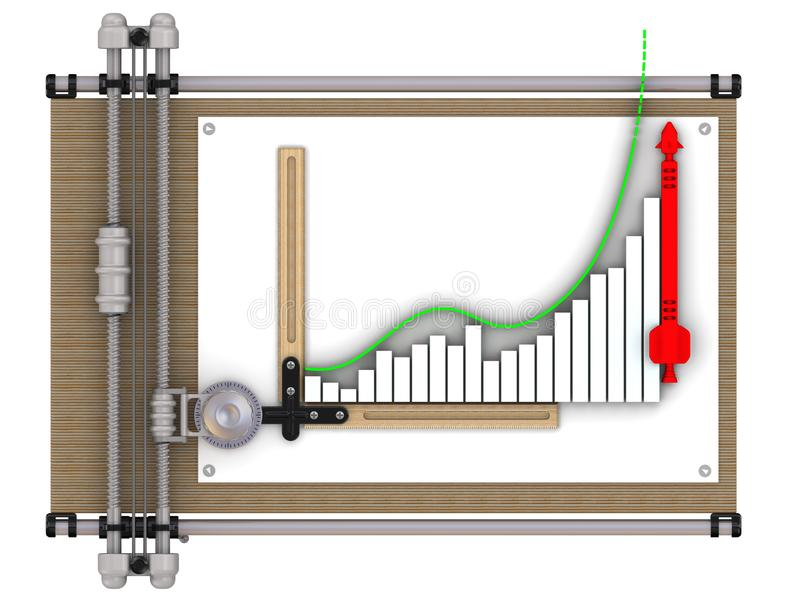 Gráfico de negocio del crecimiento rápido en el tablero de dibujo ilustración del vector