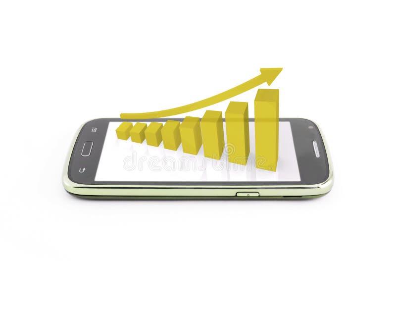 Gráfico de negocio en el móvil del smartphone stock de ilustración