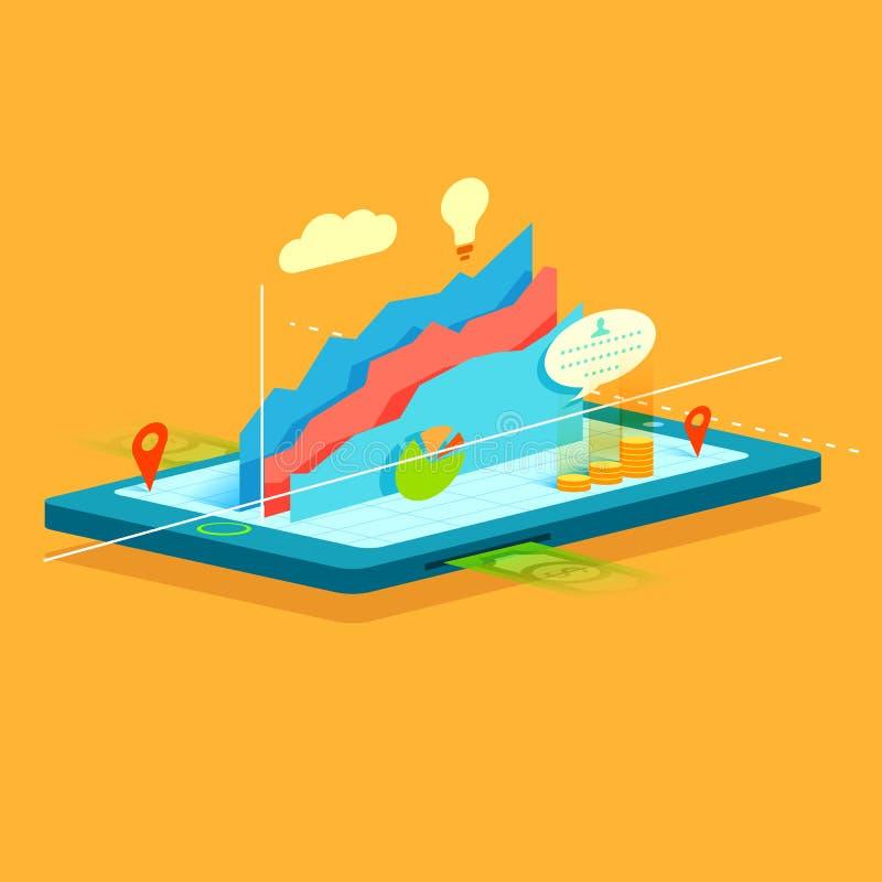 Gráfico de negocio en la pantalla móvil stock de ilustración