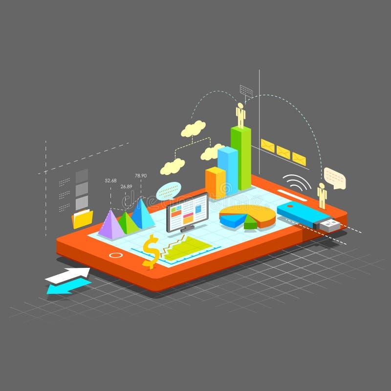 Gráfico de negocio en la pantalla móvil ilustración del vector