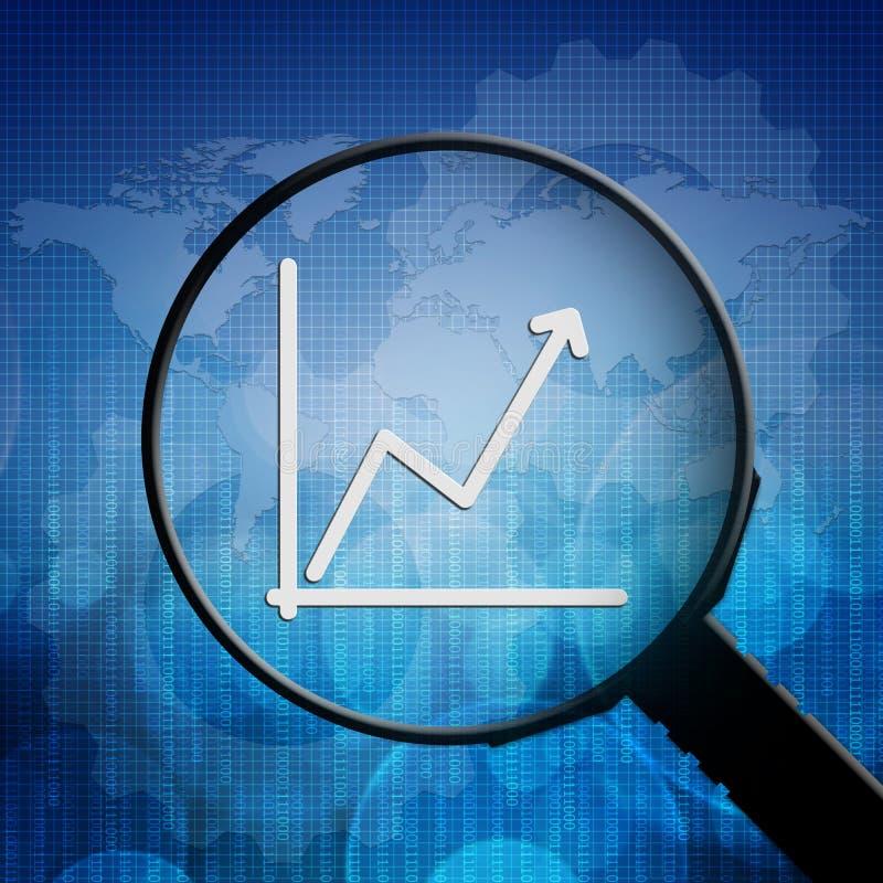 Gráfico de negocio en lupa ilustración del vector