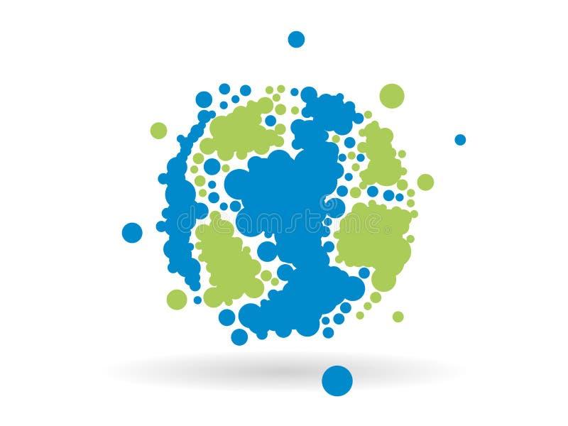 Gráfico de negocio geométrico punteado colorido de la esfera del globo de la tierra aislado en fondo blanco ligero stock de ilustración