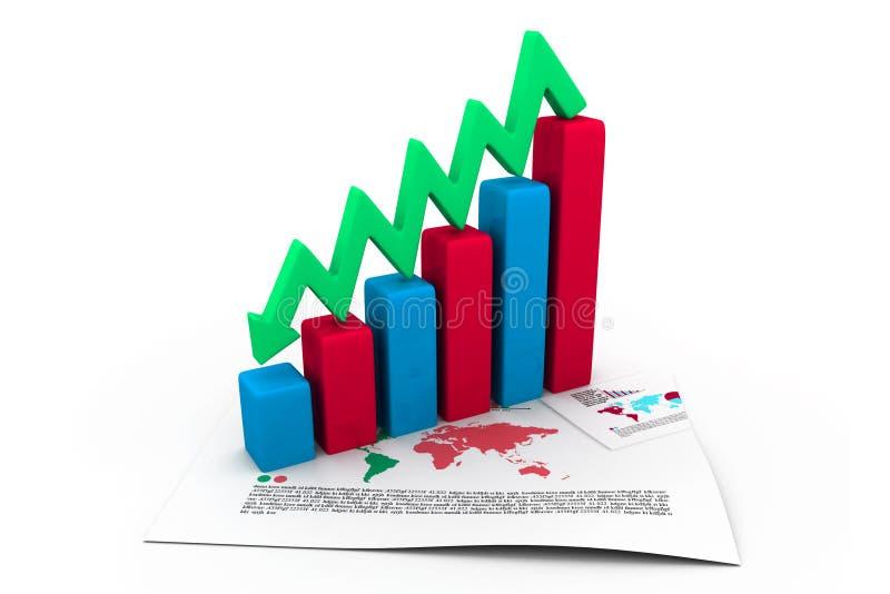 Gráfico de negocio que va abajo ilustración del vector