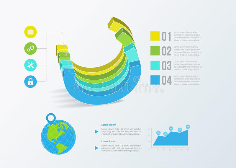Gráfico de negocio sólido Infographics del vector ilustración del vector