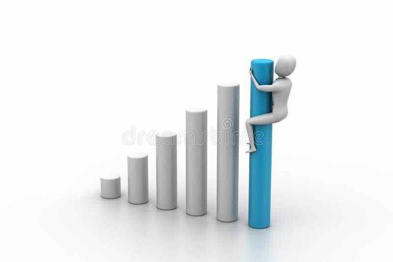Gráfico de negocio y hombre 3d libre illustration