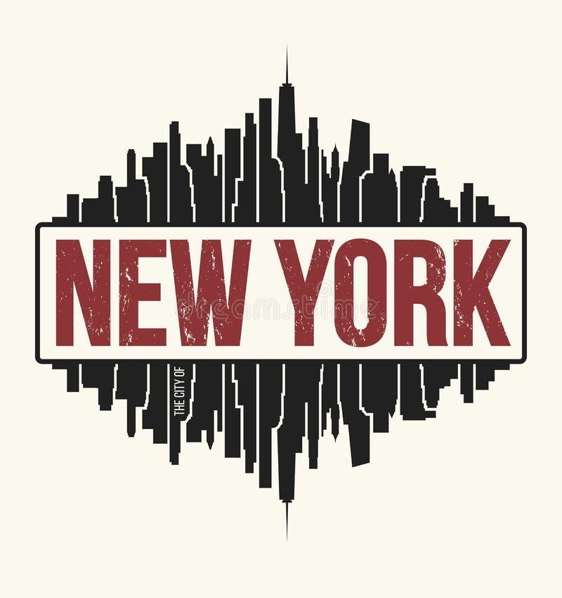 Gráfico de New York City, projeto do t-shirt, cópia do T, tipografia ilustração stock