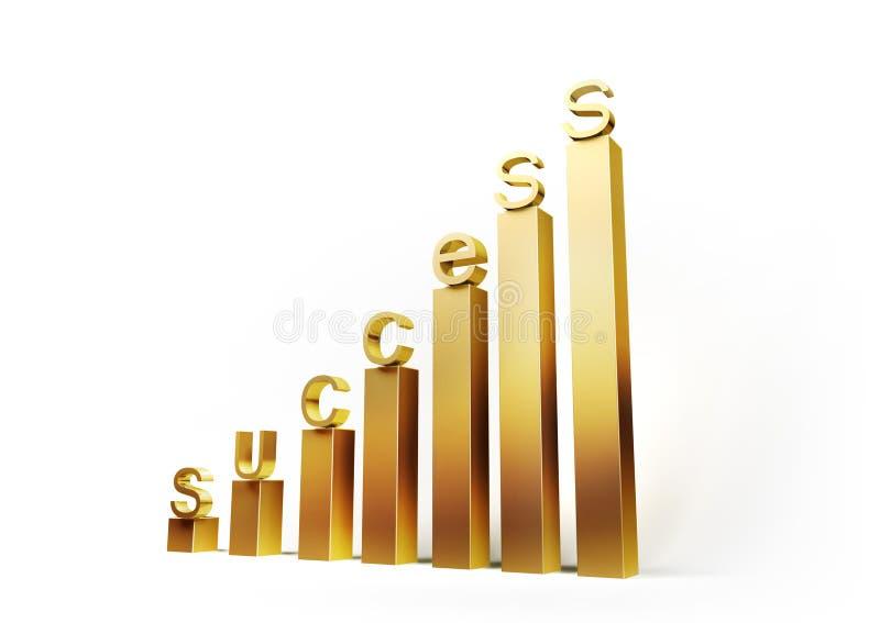 Gráfico de oro con las cartas del éxito imagen de archivo libre de regalías