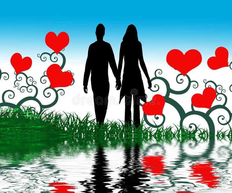 Gráfico de pares en amor ilustración del vector