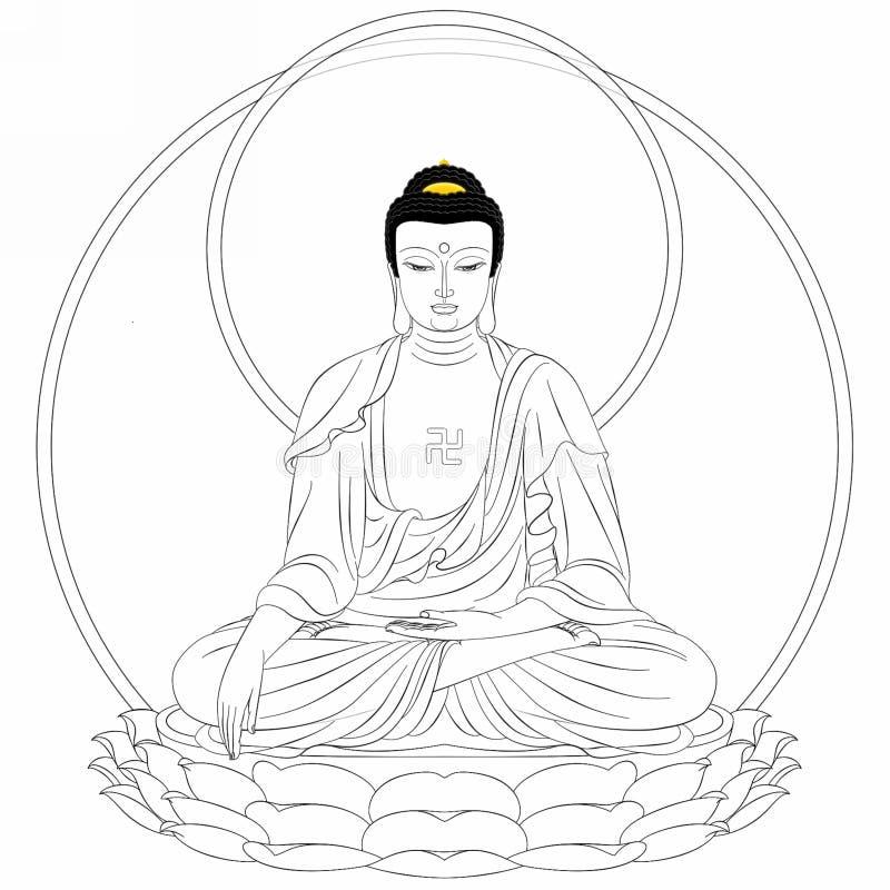 Gráfico de rey Buddha ilustración del vector