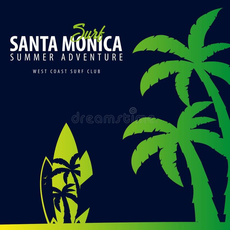 Gráfico de Santa Monica Surfing com palmas Projeto e cópia do t-shirt ilustração stock